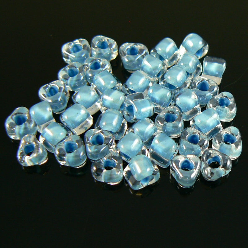 4mm sky blue color lined clear triangle glass beads, 20 grams, approx. 250 beads