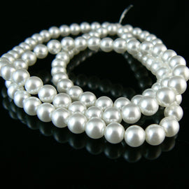 "6mm luster white glass pearls, 8"" strand, approx. 36 beads"