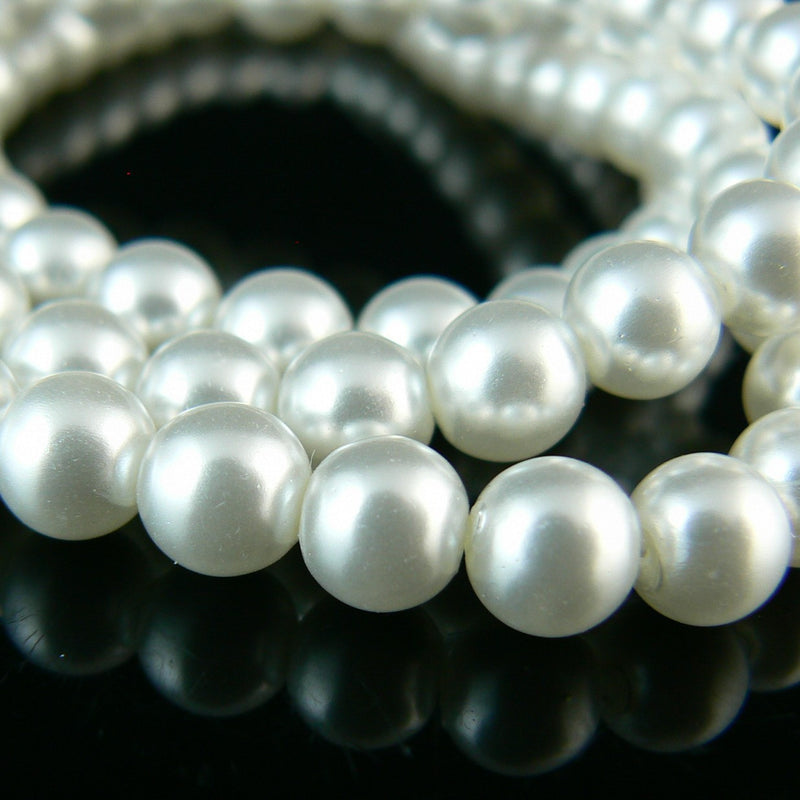 "6mm luster white glass pearls, 8"" strand, approx. 35- 36 beads"