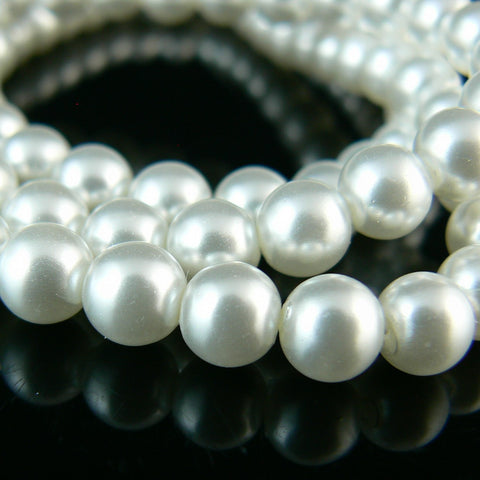 6mm luster white glass pearls, 7 inch strand