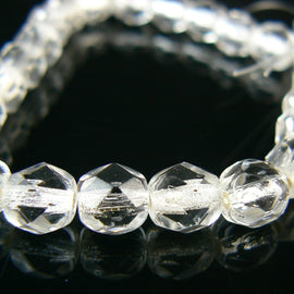 "6mm silver lined crystal faceted round Czech fire polished glass beads, 6"" strand (25 beads)"