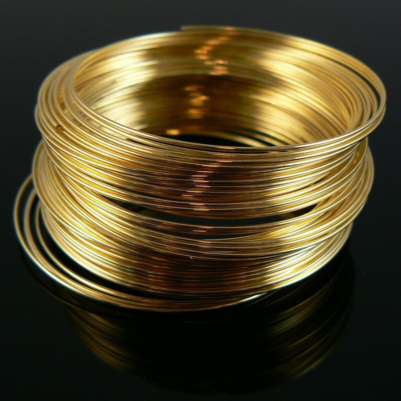 "1.75"" diameter gold plated stainless steel bracelet memory wire, 1 oz. (approx. 90 loops)"