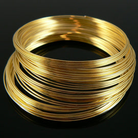 "2.25"" gold plated stainless steel bracelet memory wire, 12 loops"