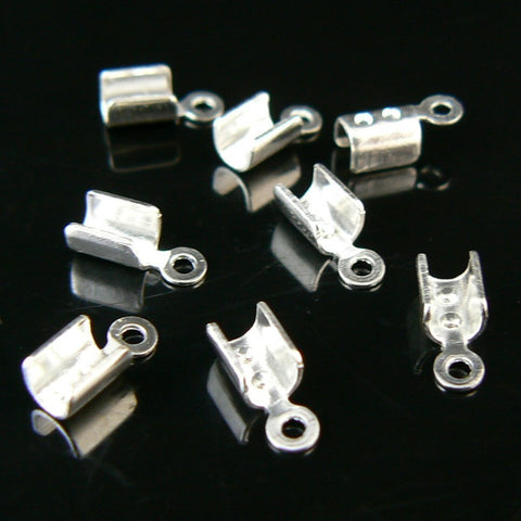 2mm nickel plated fold over crimp cord ends, 144 pcs WHOLESALE