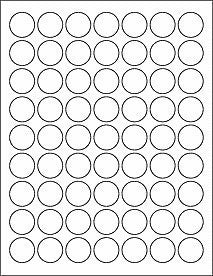 "1"" matte white circle labels with permanent adhesive, 10 sheets (630 labels)"