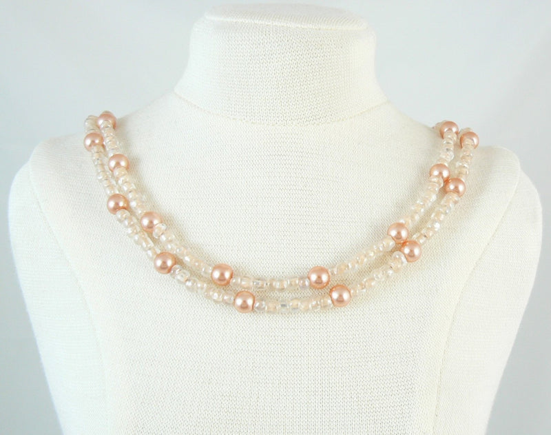 Size 6/0 clear color lined peach seed beads, 20 grams, approximately 275 beads