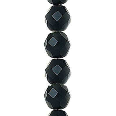 6mm faceted round jet black Czech fire polished glass beads, 7 in strand
