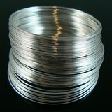 2 inch silver plated stainless steel bracelet memory wire, 1 oz. (approx. 80 loops)