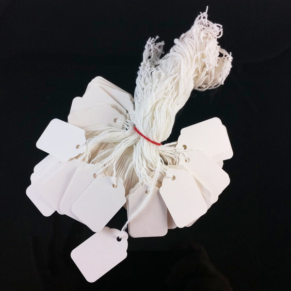 Size 4 white scallop top string tags/ merchandise price tags, 100 pcs