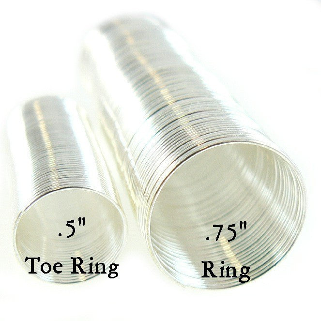 "0.5"" silver plated stainless steel TOE RING memory wire, 65 loops"