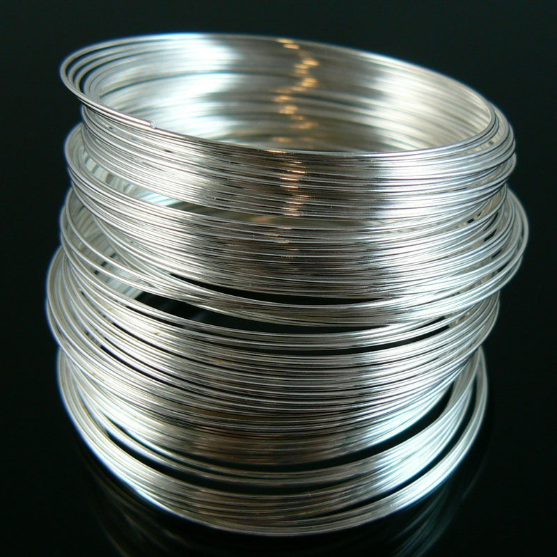 "1.75"" diameter silver plated stainless steel bracelet memory wire, 1 oz. (approx 90 loops)"