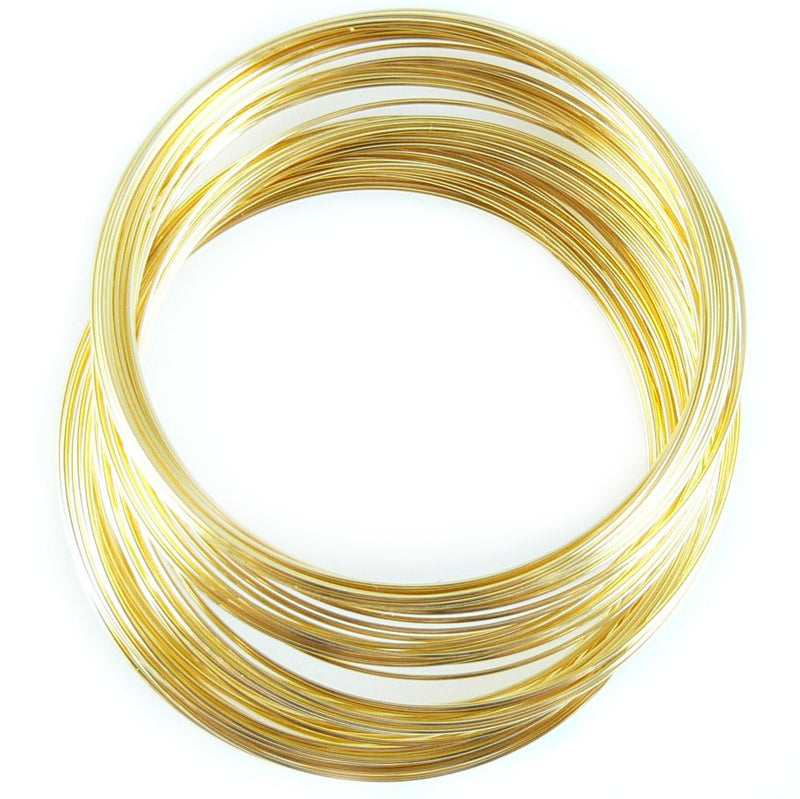 "2.25"" diameter gold plated stainless steel bracelet memory wire, 1oz. (approx. 70 loops)"