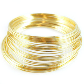 "2.25"" gold plated stainless steel bracelet memory wire, 1oz. (approx. 70 loops)"