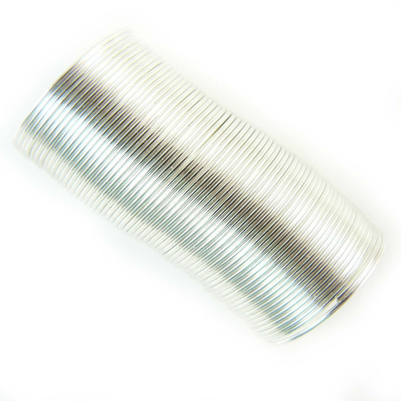 "0.75"" Bead Smith silver plated stainless steel RING memory wire, 48 loops"