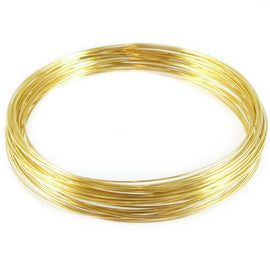 "3.6"" diameter gold plated stainless steel necklace memory wire, 12 loops"