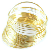 "1.75"" gold plated stainless steel bracelet memory wire, 1 oz. (approx. 90 loops)"