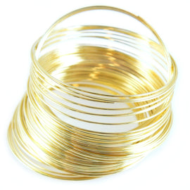 "1.75"" diameter gold plated stainless steel bracelet memory wire, 1 oz. ~90 loops"