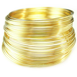 "2"" gold plated stainless steel  bracelet memory wire, 12 loops"