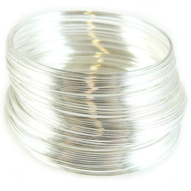 "2"" diameter silver plated stainless steel, bracelet memory wire, 12 loops"