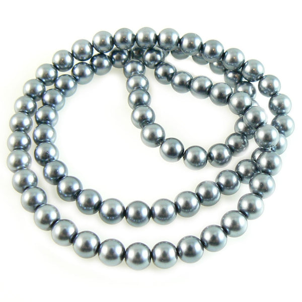 6mm luster dark gray glass pearls, 7 inch strand