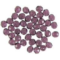 10mm faceted round, amethyst purple, Czech fire polished glass beads, 8 in strand