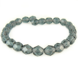 "6mm faceted round montana blue Czech fire polished glass beads, 6"" strand (25 beads)"
