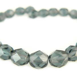 6mm faceted round montana blue Czech fire polished glass beads, 6 in strand
