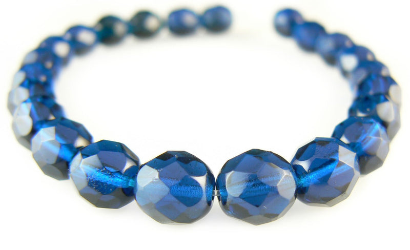 8mm faceted round, capri blue, Czech fire polished glass beads, 7 inch strand