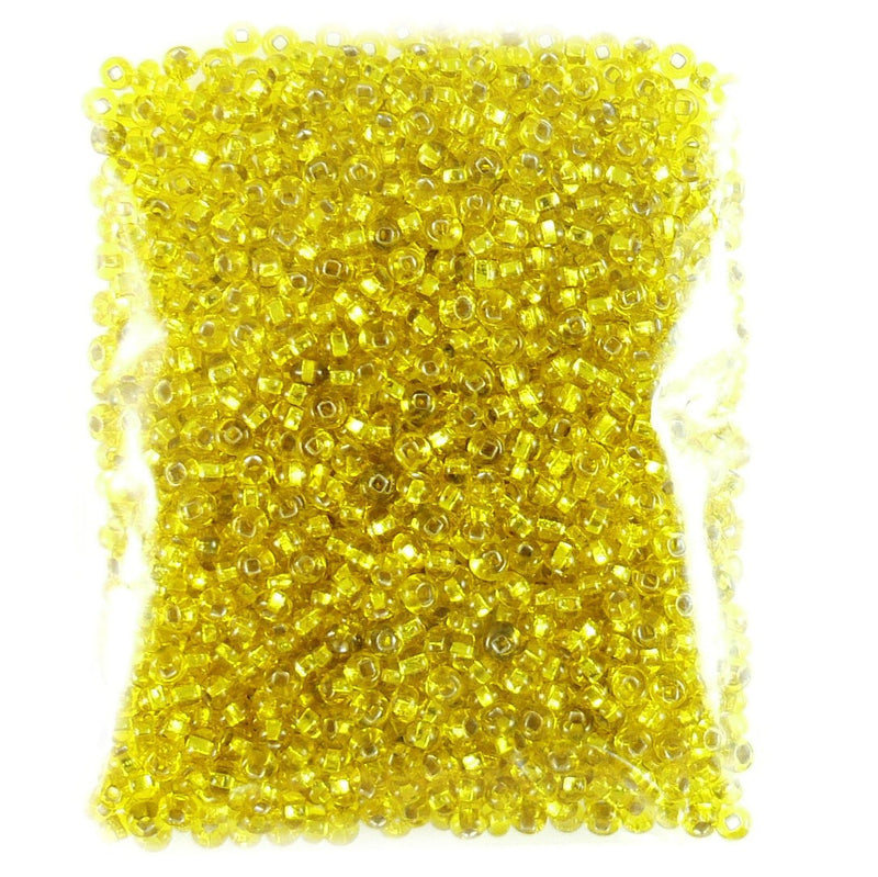 Size 8/0 silver lined yellow seed beads, 20 grams, approximately 600 beads