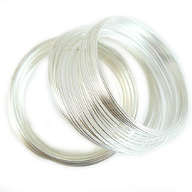 "1.75"" diameter silver plated stainless steel bracelet memory wire, 1 oz. ~90 loops"