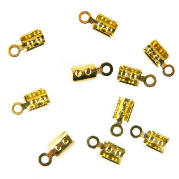 2mm gold plated fold over crimp cord ends, 144 pcs WHOLESALE