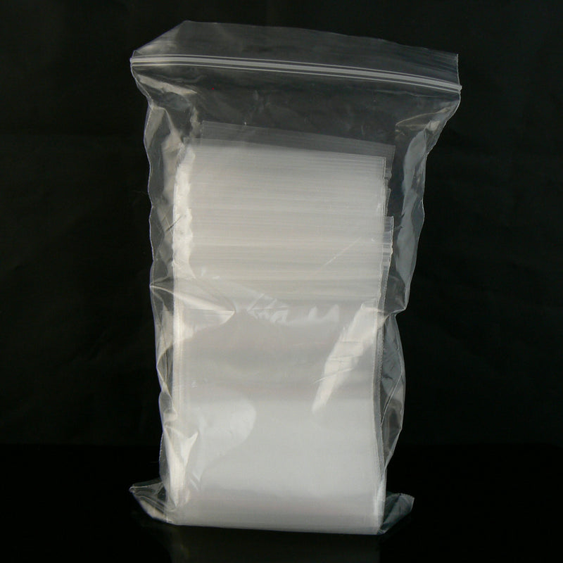 "3"" x 4"" zip top reclosable storage bags, 2 mil thick, 100 pcs"