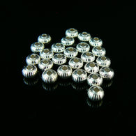 4.5 x 3mm silver plated brass corrugated saucer beads, 25 pieces