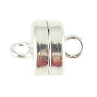9 x 7 mm SUPER STRONG silver plated magnetic clasps, 6 clasps.