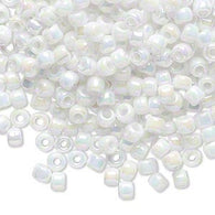 Size 6/0 opaque white rainbow Matsuno glass seed beads, 20 grams, approximately 340 beads. Spring, summer, Christmas, 4th of July, wedding