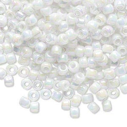 Size 6/0 opaque white rainbow Matsuno glass seed beads, 20 grams, approximately 340 beads