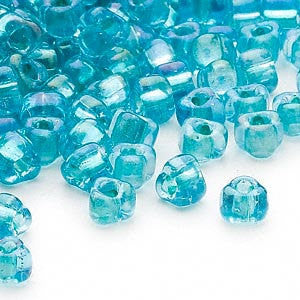 4mm light blue color lined teal Miyuki # 1822 triangle glass beads, 20 grams, approx 250 beads