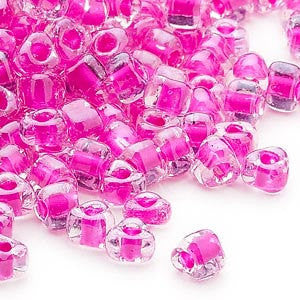 4mm clear color lined fuchsia triangle glass beads, Miyuki # 1110, 20 grams, approx. 250 beads. Easter, Spring, tropical, Summer, vacation