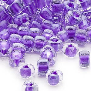 4mm clear color lined purple triangle glass beads, Miyuki # 1123, 20 grams. Memory wire jewelry, bangles, Easter Spring school color Summer