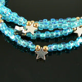 4mm light blue color lined teal Miyuki # 1822 triangle glass beads, 20 grams, approx 250 beads. Memory wire jewelry, bangle bracelets, beach