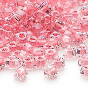 4mm clear color lined pink triangle glass beads, Miyuki #  #1109, 20 grams, approx. 250 beads
