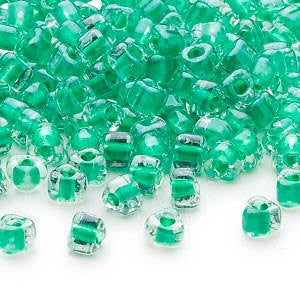 4mm clear color lined kelly green Miyuki # 1130 triangle glass beads, 20 grams, approx. 250 beads