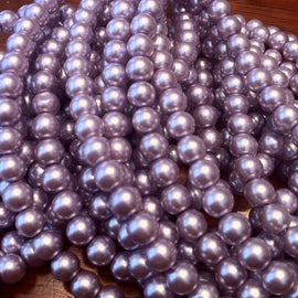 "6mm luster lavender glass pearls, 7"" strand (approx. 30 beads)"