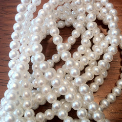 4mm luster white glass pearls, 8 inch strand