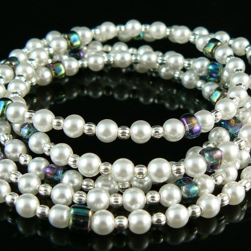 4mm luster white glass pearls, 8 inch strand (approximately 50 beads)