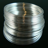 2 inch silver plated stainless steel, bracelet memory wire, 12 loops
