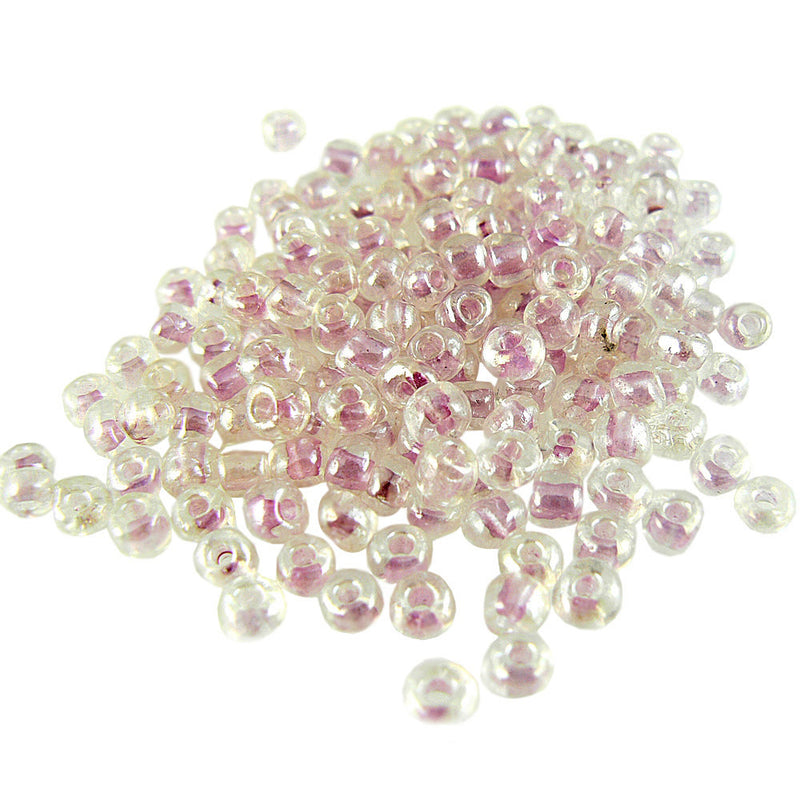Size 6/0 clear color lined light pink seed beads, 20 grams, approximately 275 beads