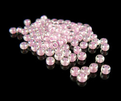 Size 6/0 clear color lined bubblegum pink glass seed beads, 20 grams, approximately 275 beads. Girly, gum, baby girl, Easter, Spring, Summer