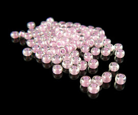 Size 6/0 clear color lined bubblegum pink glass seed beads, 20gm, approx 275 beads
