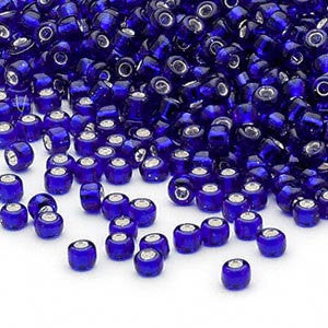 Size 8/0 silver lined cobalt blue Matsuno glass seed beads, 20 grams, approximately 600 beads. School colors, patriotic, USA, Navy, tropical